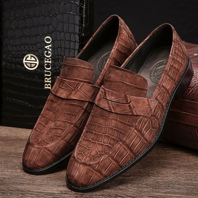 Handcrafted Genuine Alligator Leather Penny Slip-On Leather Lined Loafer-Brown