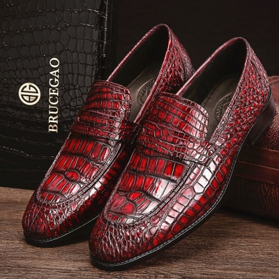 Handcrafted Genuine Alligator Leather Penny Slip-On Leather Lined Loafer-Burgundy