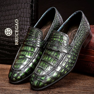 Handcrafted Genuine Alligator Leather Penny Slip-On Leather Lined Loafer-Green