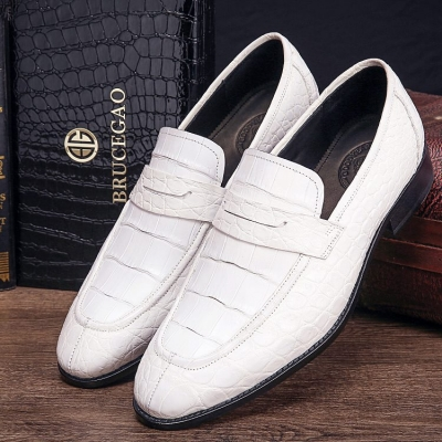 Handcrafted Genuine Alligator Leather Penny Slip-On Leather Lined Loafer-White