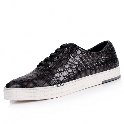 Premium Handcrafted Men's Alligator Leather Lace-Up Sneaker