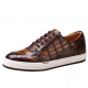 Premium Handcrafted Men's Alligator Leather Lace-Up Sneaker-Brown