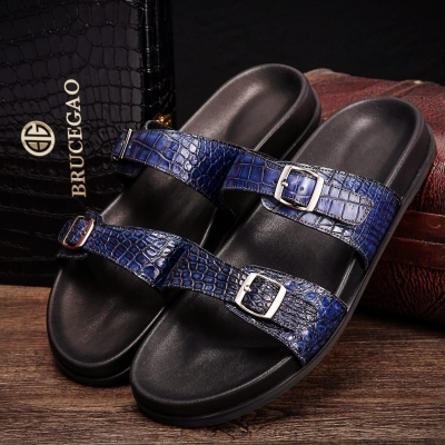 Unisex Alligator Sandals with Adjustable Strap Buckle-Blue