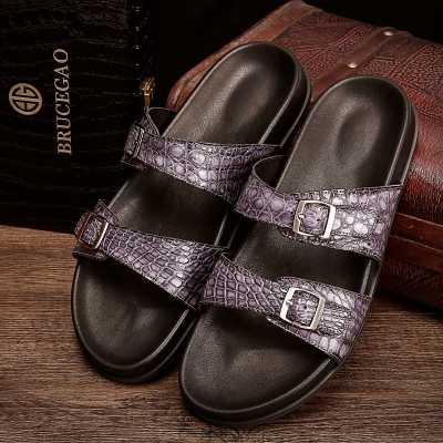 Unisex Alligator Sandals with Adjustable Strap Buckle-Gray