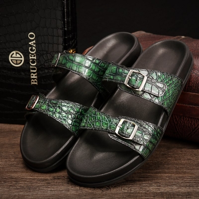 Unisex Alligator Sandals with Adjustable Strap Buckle-Green