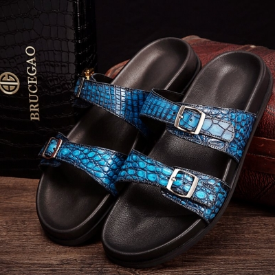 Unisex Alligator Sandals with Adjustable Strap Buckle-Light Blue