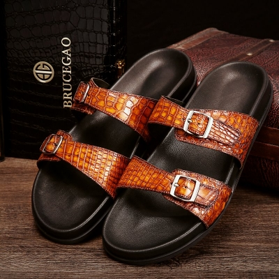 Unisex Alligator Sandals with Adjustable Strap Buckle-Tan