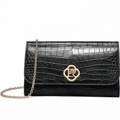 Alligator Envelope Clutch Chain Shoulder Bag-Black