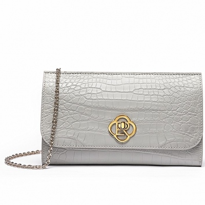 Alligator Envelope Clutch Chain Shoulder Bag-Light gray