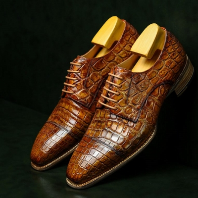 Alligator Leather Cap-Toe Derby Leather Lined Dress Shoes