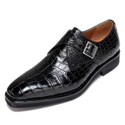 Alligator Monk Strap Slip-On Loafer Formal Business Dress Shoes