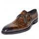 Alligator Monk Strap Slip-On Loafer Formal Business Dress Shoes-Brown