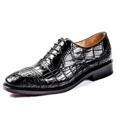 Alligator Skin Cap-Toe Oxford Shoes