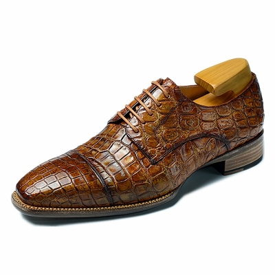 Classic Alligator Leather Cap-Toe Derby Leather Lined Dress Shoes