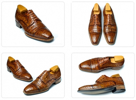 Classic Alligator Leather Cap-Toe Derby Leather Lined Dress Shoes-Details