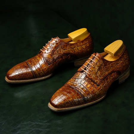 Classic Alligator Leather Cap-Toe Derby Leather Lined Dress Shoes for Men