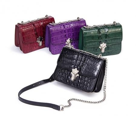 Crocodile Leather Strap Flap Purse Shoulder Bag With Chain Strap