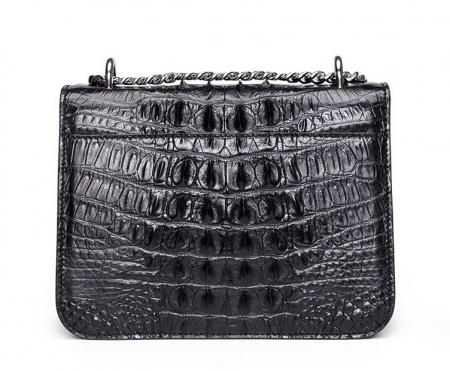 Crocodile Leather Strap Flap Purse Shoulder Bag With Chain Strap-Back