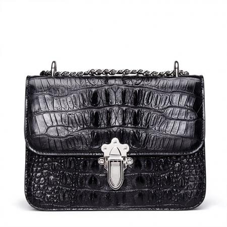 Crocodile Leather Strap Flap Purse Shoulder Bag With Chain Strap-Black