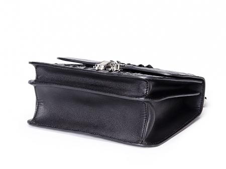 Crocodile Leather Strap Flap Purse Shoulder Bag With Chain Strap-Bottom