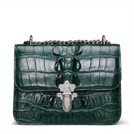 Crocodile Leather Strap Flap Purse Shoulder Bag With Chain Strap-Green