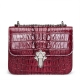 Crocodile Leather Strap Flap Purse Shoulder Bag With Chain Strap-Maroon
