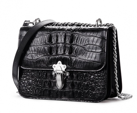 Crocodile Leather Strap Flap Purse Shoulder Bag With Chain Strap-Micro side