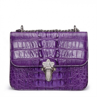 Crocodile Leather Strap Flap Purse Shoulder Bag With Chain Strap-Purple