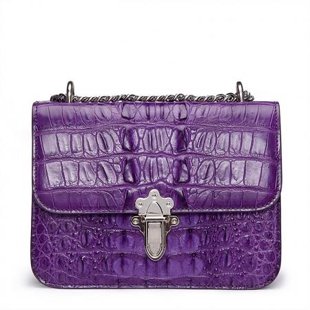 Crocodile Leather Strap Flap Purse Shoulder Bag With Chain Strap-Purple