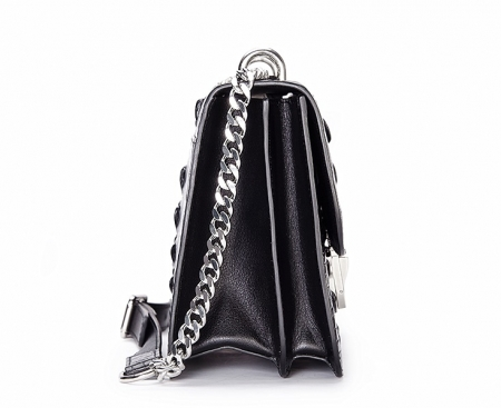 Crocodile Leather Strap Flap Purse Shoulder Bag With Chain Strap-Side