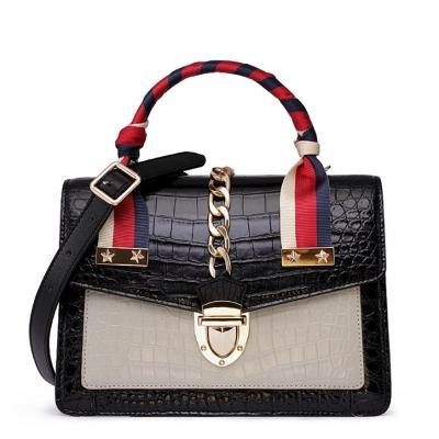 Designer Alligator Skin Shoulder Handbags Crossbody Bags with Gold Hardware-Black