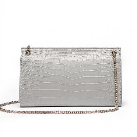 Evening Alligator Envelope Clutch Chain Shoulder Bag-Back