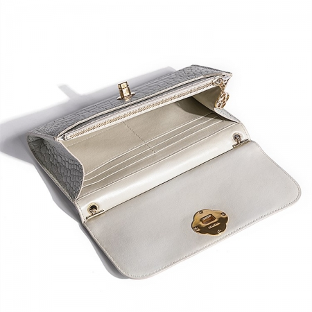 Evening Alligator Envelope Clutch Chain Shoulder Bag-Inside