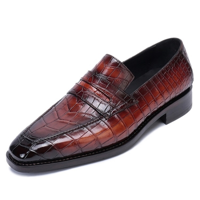 Formal Alligator Leather Loafers Dress Shoes for Men