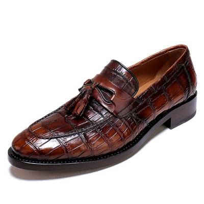 Handcrafted Mens Alligator Tassel Loafer Slip-On Shoes