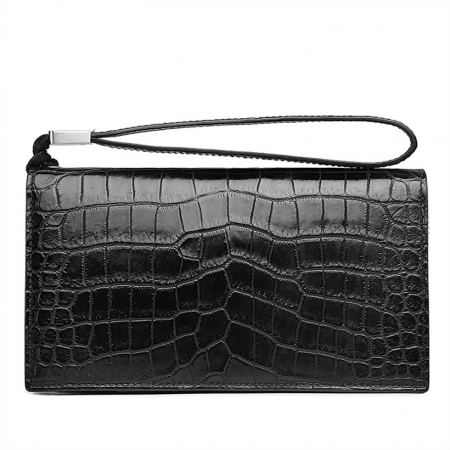 Mens Alligator Clutch Bag Organizer Checkbook Wallet Card Case with Wristlet