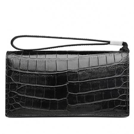 Mens Alligator Clutch Bag Organizer Checkbook Wallet Card Case with Wristlet-Back