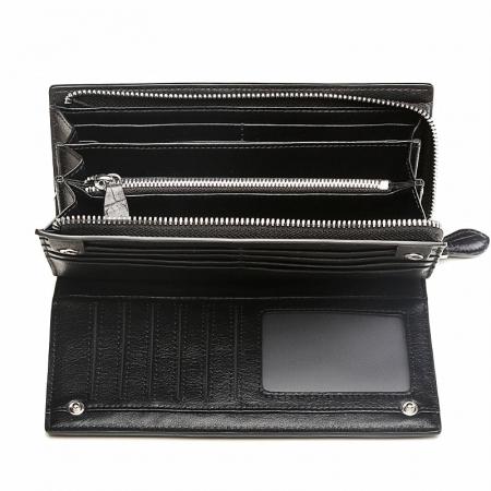 Mens Alligator Clutch Bag Organizer Checkbook Wallet Card Case with Wristlet-Inside