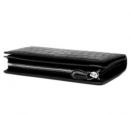 Mens Alligator Clutch Bag Organizer Checkbook Wallet Card Case with Wristlet-Side