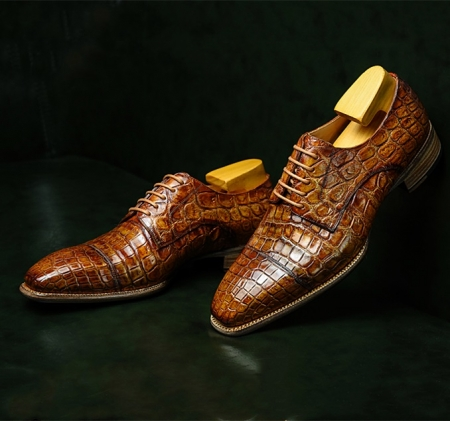Mens Alligator Leather Cap-Toe Derby Leather Lined Dress Shoes