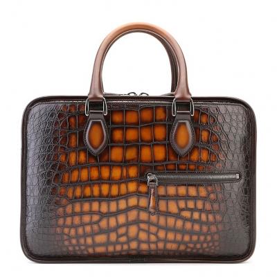 Alligator Briefcase, Alligator Crossbody Laptop Business Bag-Tan