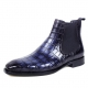 Handcrafted Alligator Chelsea Boots-Blue