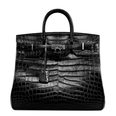 Large Unisex Alligator Leather Padlock Bag