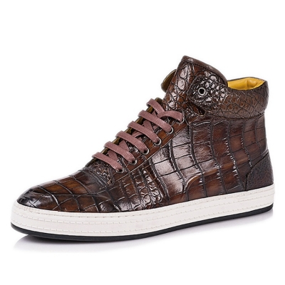Casual Alligator Leather Chukka Sneaker Boot-Brown