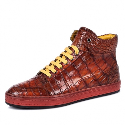 Casual Alligator Leather Chukka Sneaker Boot-Cognac