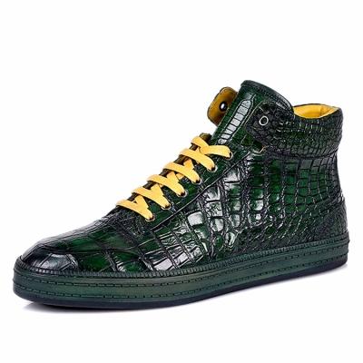 Casual Alligator Leather Chukka Sneaker Boot-Green