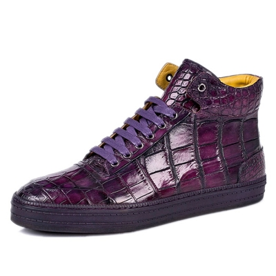 Casual Alligator Leather Chukka Sneaker Boot-Purple