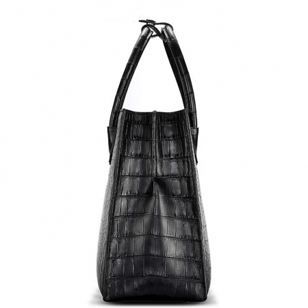 Classic Alligator Leather Tote handbag Shoulder Bag-Side