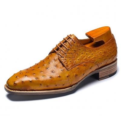 Formal Ostrich Derby Shoes for Men-Tan
