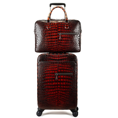 Genuine Alligator Leather 2-piece Spinner Luggage Set-Burgundy
